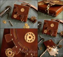 Steampunk Leather Pouch XII by izasartshop