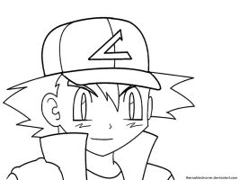 Ash Ketchum lineart by TheROOkieDrawer
