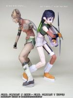 Final Fantasy VII Yuffie + Final Fantasy X Rikku by ninjatoespapercraft