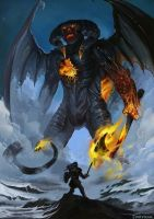 Feanor against the Lord of Balrogs by Evolvana
