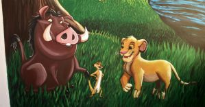 Pumba, Timon and Simba Mural Painting by Bonniemarie