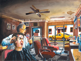 Workplace Distractions: 1970 Ford Mustang Painting by FastLaneIllustration
