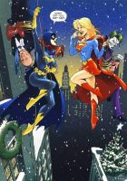 Supergirl Batgirl Christmas by battle810