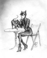 Catwoman Isis and a latte by Hillary-CW