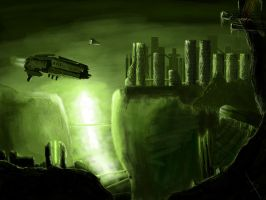 Green scifi scenery by aneki