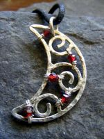 Garnet Crescent Moon by MoonLitCreations