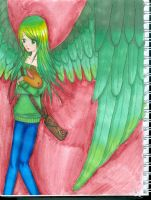 Green angel with a BUNNY by ThePirateBunny7