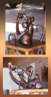 Steampunk Octopus Attack Wedding Cake Topper by crymsonlyze
