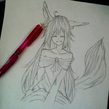 (sketch) Fox Girl by icecreamlover2003