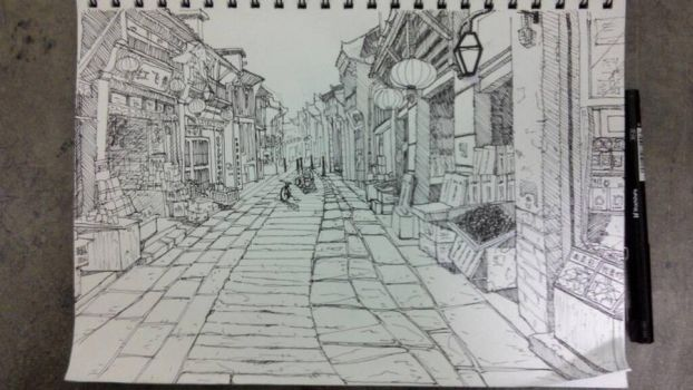 Chinese street sketch~~  by jackyfish123