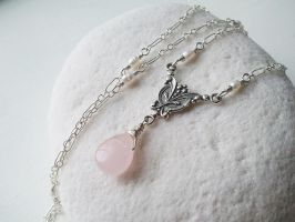 Victorian Rose Kiss Quartz and Tiny Pearls by QuintessentialArts