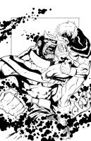 Thanos Vs. Captain Mar-Vell by EmmasDad