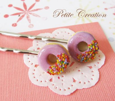 purple donut bobby pins by PetiteCreation