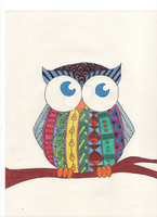Zentangle Owl Colored by Persephone30