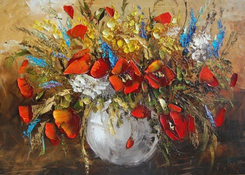 Poppies in Vase by Kasia1989