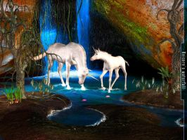 Unicorn's waterfall by rlcwallpapers