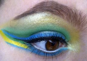 crazy green yellow blue look by KatelynnRose
