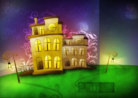 houses in the night by katjara