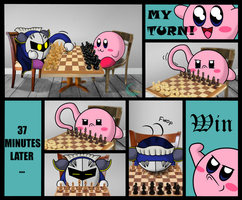 Kirby and Meta Knight Have a Chess Duel by Galaxianista