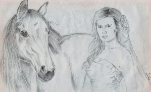Horse with girl by manulal
