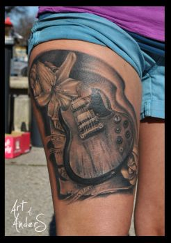 Guitar Memory Tattoo by Anderstattoo