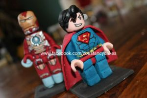 superman and iron man lego cake toppers by zoesfancycakes