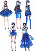 Fashion Sketch Blue Ladies by sandertheyugiohking