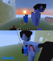 Giant Minecraft Cobalt Statue by CobaltBrony