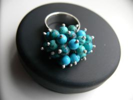 silver ring with turquoises by irineja