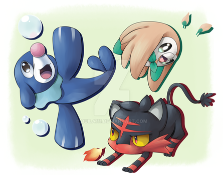 Sun and Moon Starters by quila111