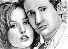 Mulder + Scully Drawing by LenaStinke