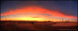 Fire in Kansas: Panorama by FramedByNature