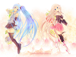 Collaboration: Miku and Ia by Rurutia8