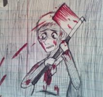 Yandere Thomas Kills A Rival(Concept Sketch) by MarvelousDani