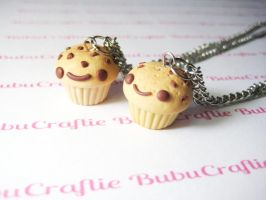 Kawaii Chocolate Chip Muffin Necklace by efeeha