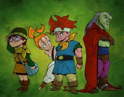 Lucca, Marle, Crono and Grumpy by Ryan-Cole