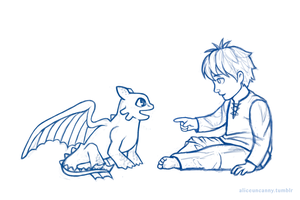 Baby Hiccup and Toothless by aliceuncanny