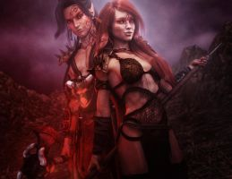 Barbarian Warrior Man and Woman, Fantasy Art by shibashake