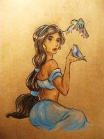 Jasmine and the birds by Drawinful