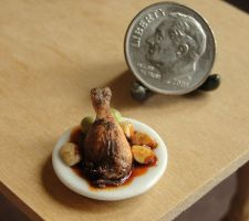 Dollhouse Miniature Duck Confit by fairchildart