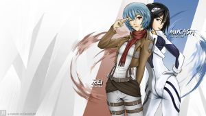 Rei and Mikasa cosplay crossover by G-Matoshi