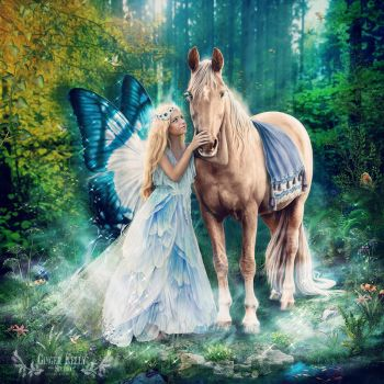The Blue Fairy and Her Pony by GingerKellyStudio