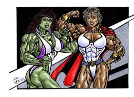 Powergirl and She Hulk by Pete by ArchiveSW