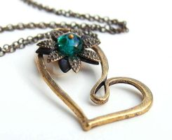 Teal blue heart necklace by CreativityJewellery