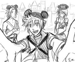 KH: Day At Disneyland Town Thing by soggymuffinhead