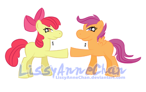 Brohoof! Scootaloo and Applebloom by LissyAnneChan