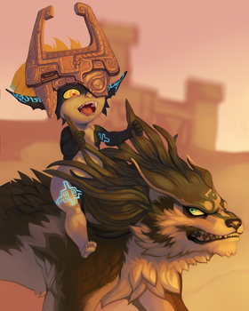 Midna and wolf Link by SavageDeity