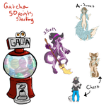 New Gatchas -- OPEN -- tiered by crazy-peach-adopt