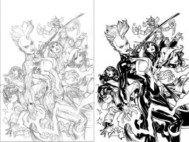 Ink test over Terry Dodson's pencils X-Men cover by Robus2