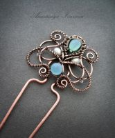 hairpin with chalcedony by nastya-iv83